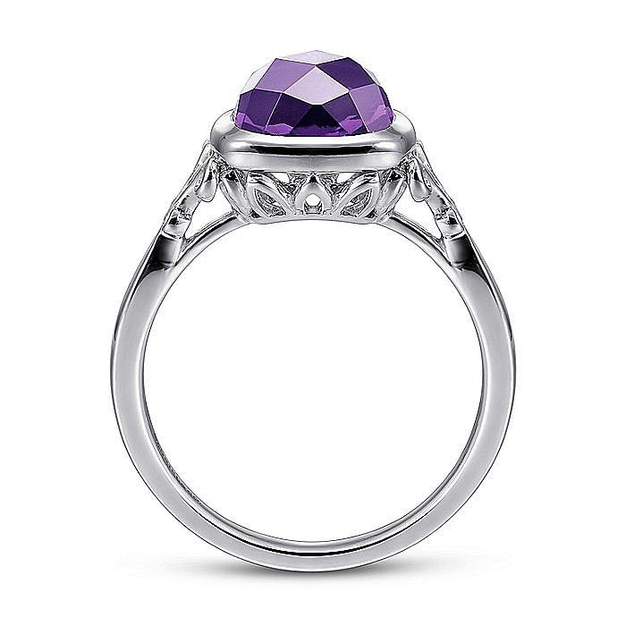 925 Sterling Silver Cushion Cut Amethyst Ring
