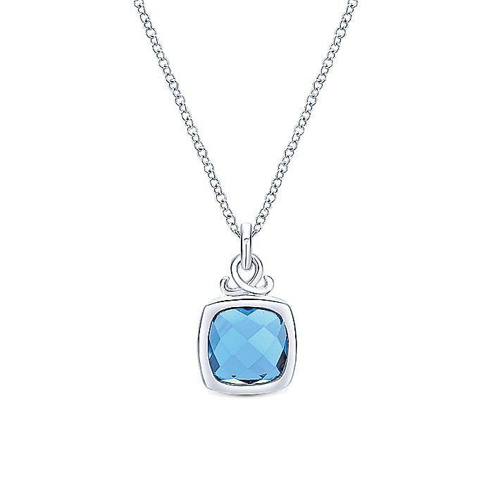 925 Sterling Silver Cushion Cut Bezel Set Blue Topaz Pendant Necklace