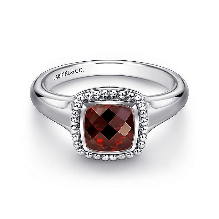 925 Sterling Silver Cushion Cut Garnet Ring
