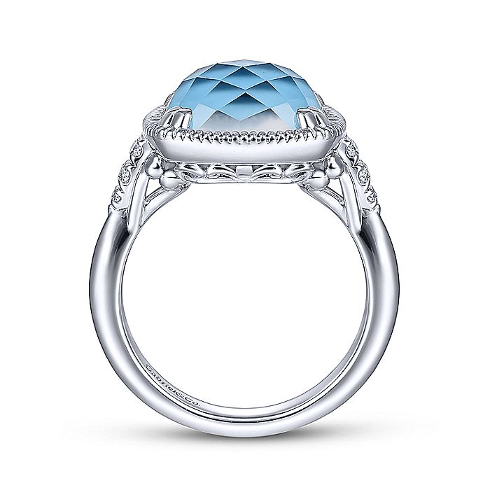 925 Sterling Silver Cushion Cut Rock Crystal/Turquoise Ring with White Sapphire