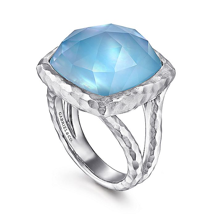 925 Sterling Silver Cushion Cut Rock Crystal/White MOP/Turquoise Ring