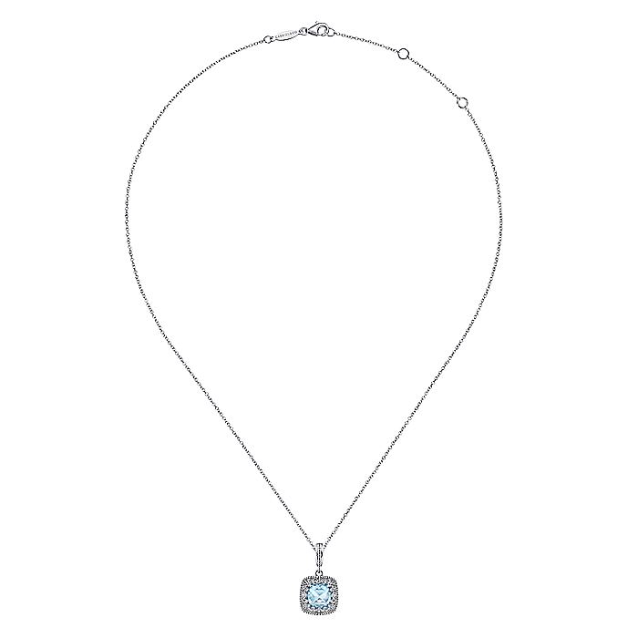 925 Sterling Silver Cushion Cut Sky Blue Topaz Pendant Necklace with Filigree Frame