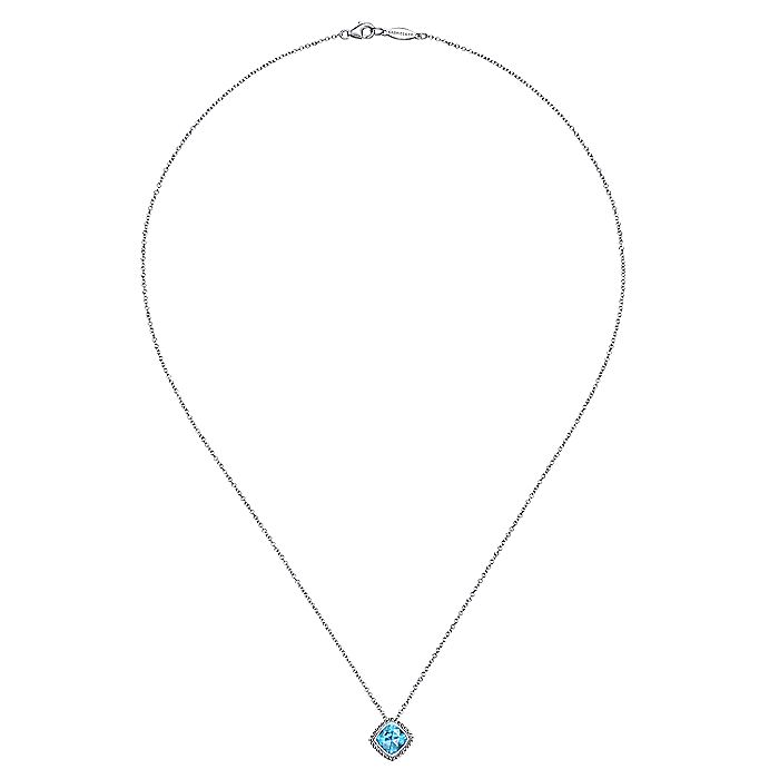 925 Sterling Silver Cushion Cut Swiss Blue Topaz Pendant Necklace