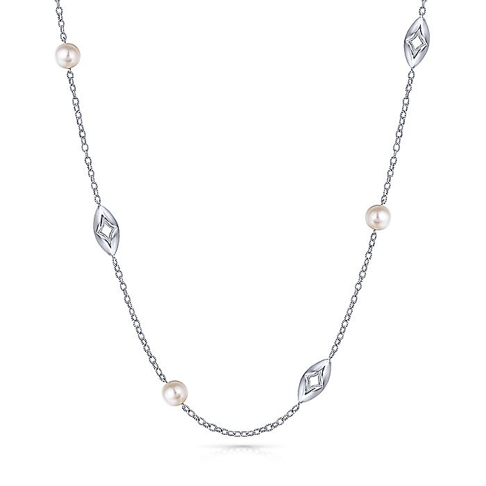 925 Sterling Silver Cutout Casting and Pearl Station Necklace