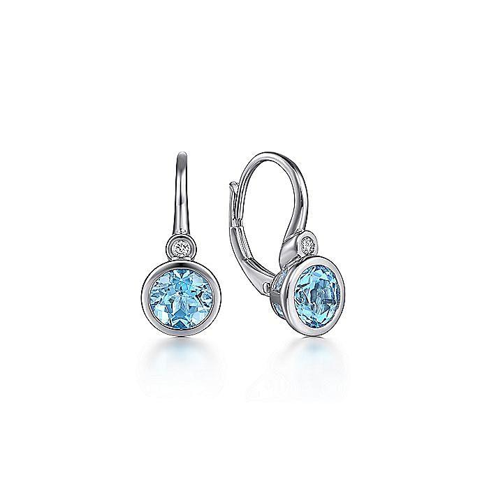 925 Sterling Silver Diamond & Blue Topaz Drop Earrings
