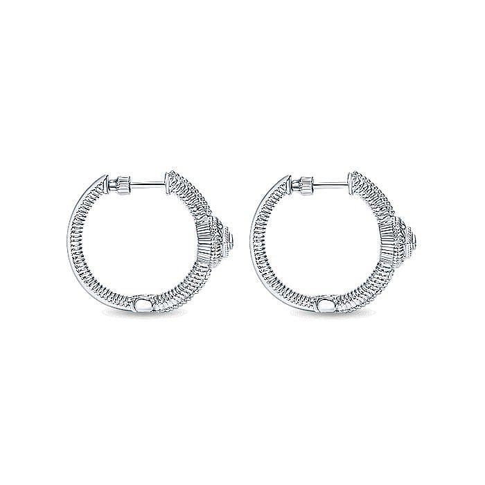 925 Sterling Silver Diamond Station 20mm Huggie Earrings