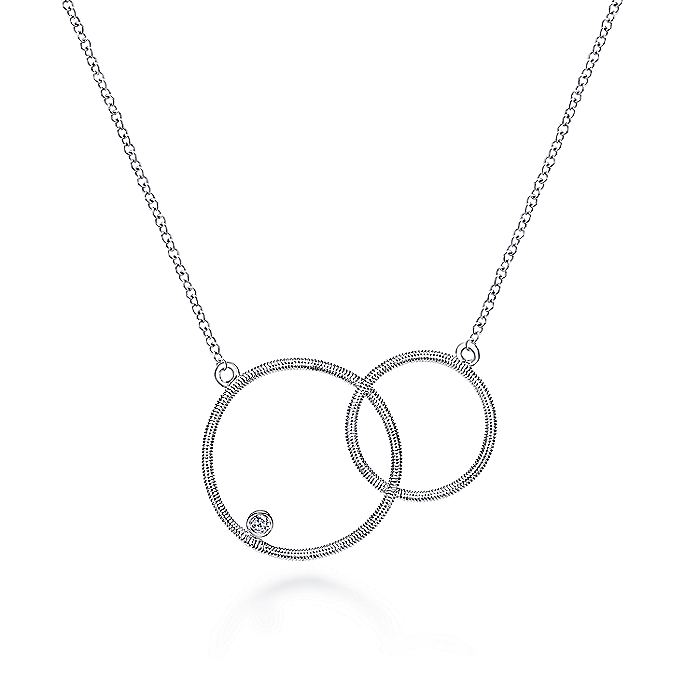 925 Sterling Silver Double Loop Diamond Pendant Necklace