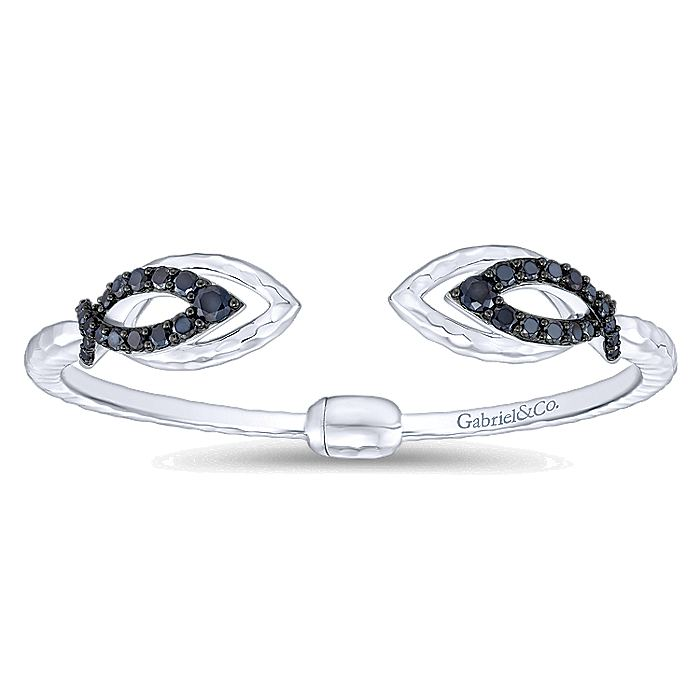 925 Sterling Silver Double Marquise Open Bangle with Black Spinel