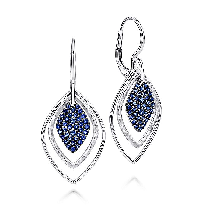 925 Sterling Silver Double Rhombus and Sapphire Cluster Drop Earrings