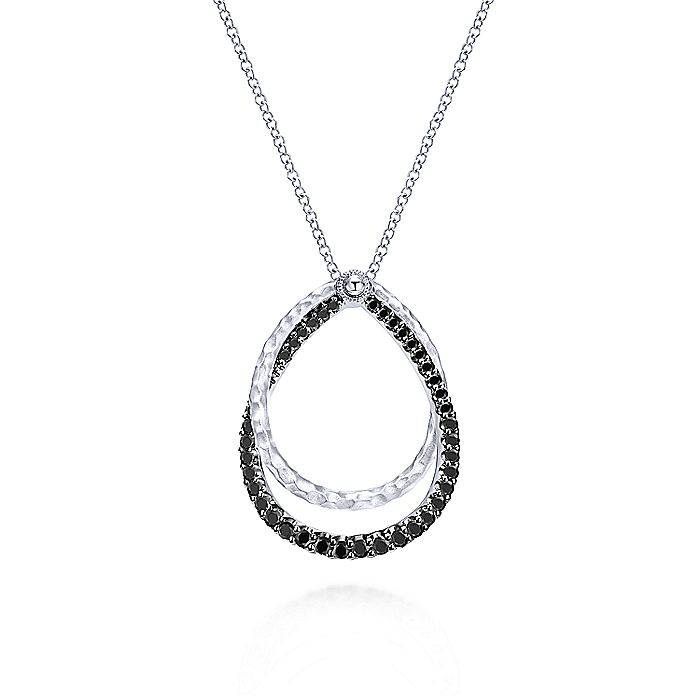 925 Sterling Silver Double Teardrop Black Spinel Pendant Necklace