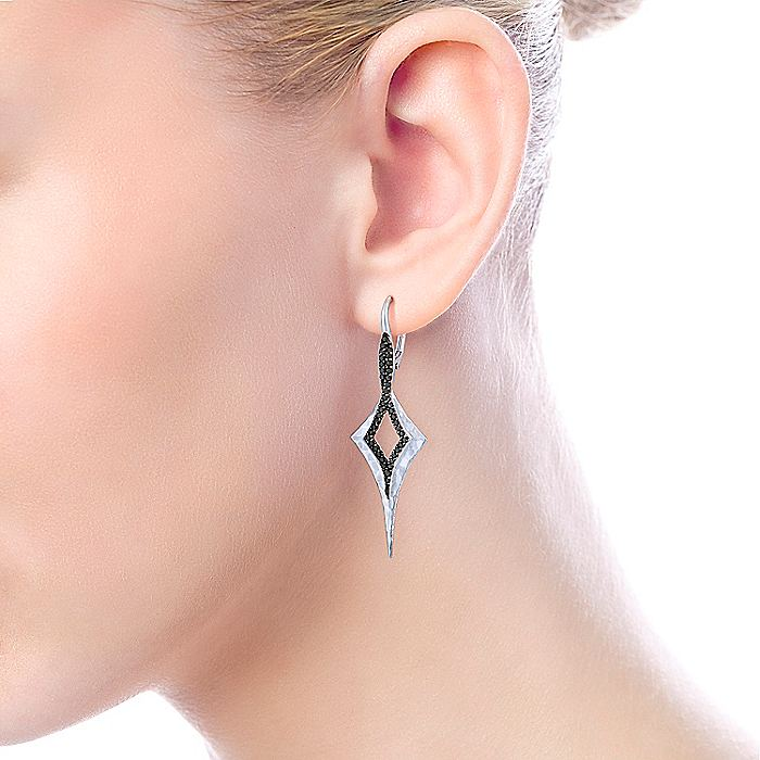 925 Sterling Silver Elongated Hammered Kite Earrings with Black Spinel