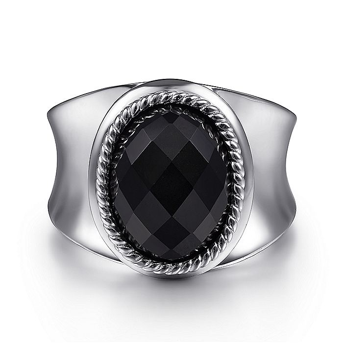925 Sterling Silver Faceted Oval Wide Band Ring