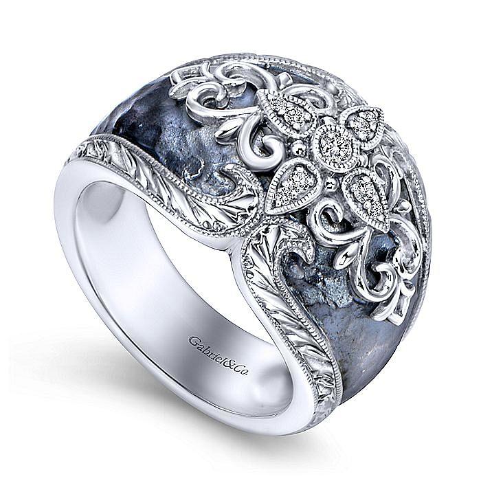 925 Sterling Silver Filigree Overlay Diamond Ring