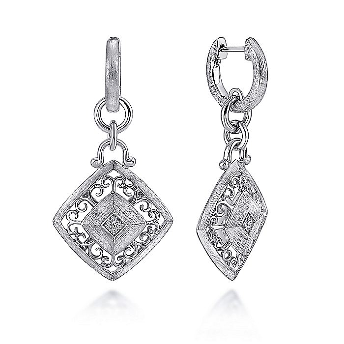 925 Sterling Silver Filigree Rhombus Huggie Earrings with Diamond Accents