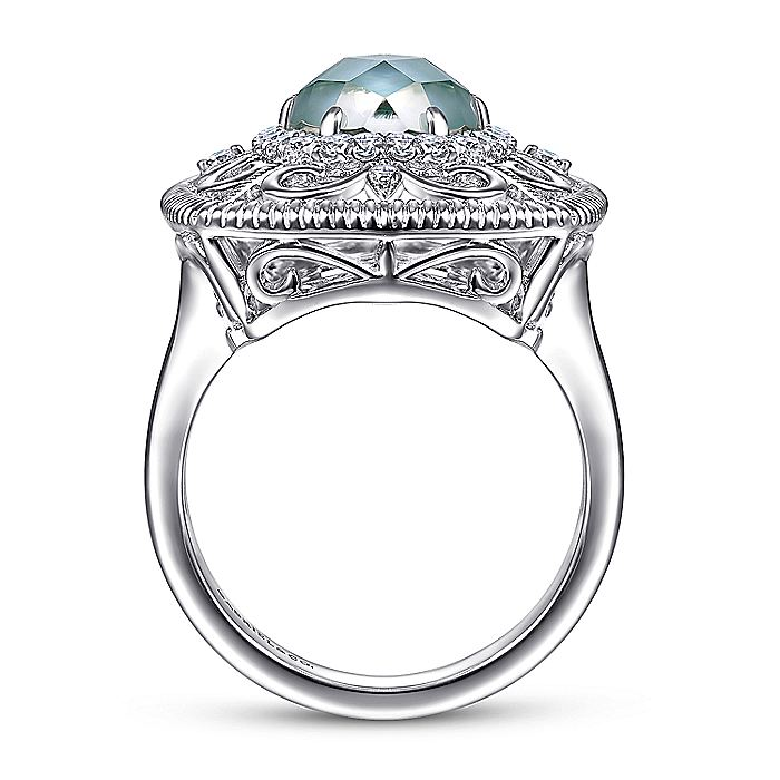 925 Sterling Silver Filigree Ring with Rock Crystal/Green Onyx/White Sapphire