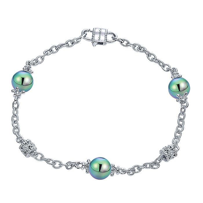 925 Sterling Silver Filigree and Pearl Station Bracelet