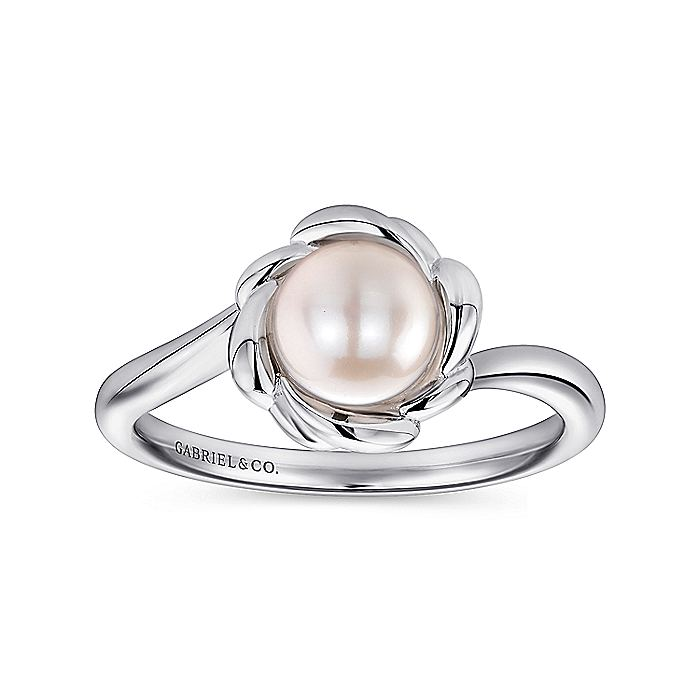 925 Sterling Silver Floral Cultured Pearl Ring