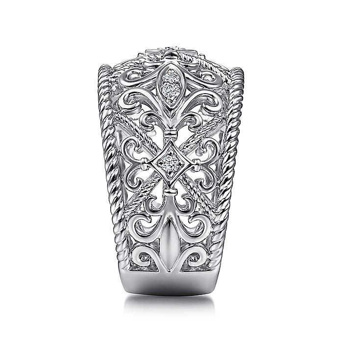925 Sterling Silver Floral Openwork White Sapphire Ring