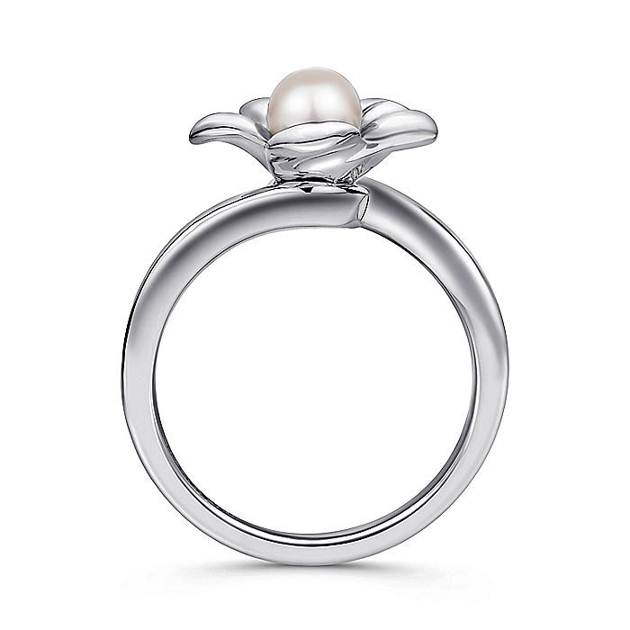 925 Sterling Silver Floral Pearl Ring
