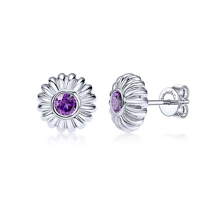 925 Sterling Silver Floral Round Amethyst Stud Earrings
