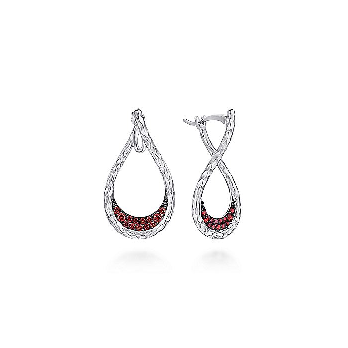 925 Sterling Silver Garnet Bypass Pear Shaped Hoop Earrings