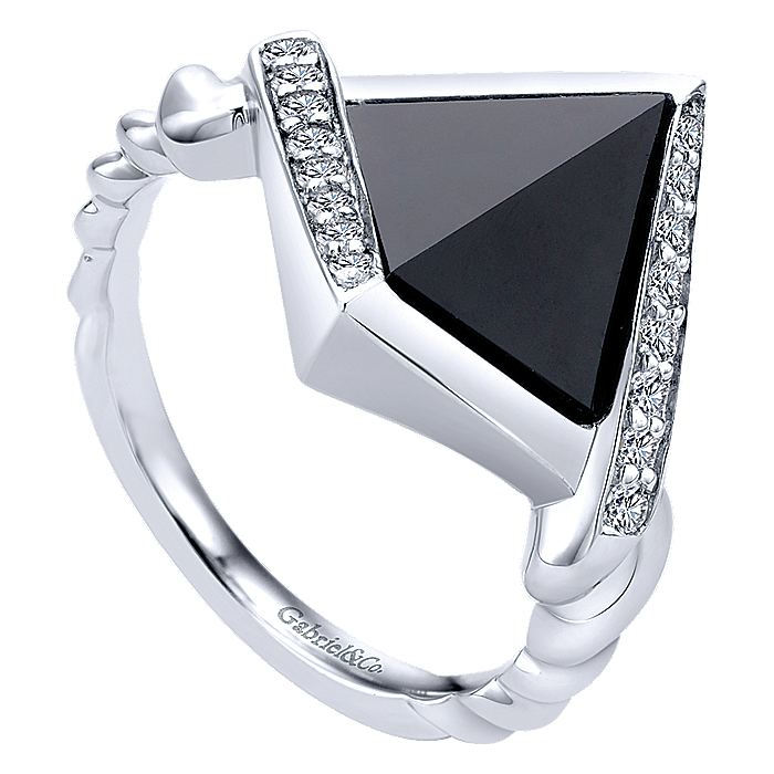 925 Sterling Silver Geometric Onyx and White Sapphire Ring