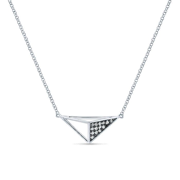 925 Sterling Silver Geometric Pendant Necklace with Diamonds
