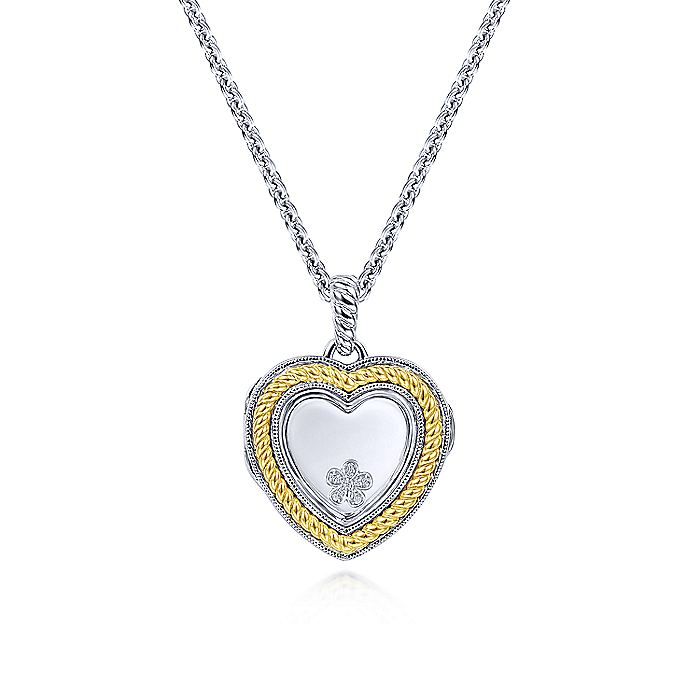 925 Sterling Silver Glass Inlay Heart Locket and 18K Yellow Gold Border
