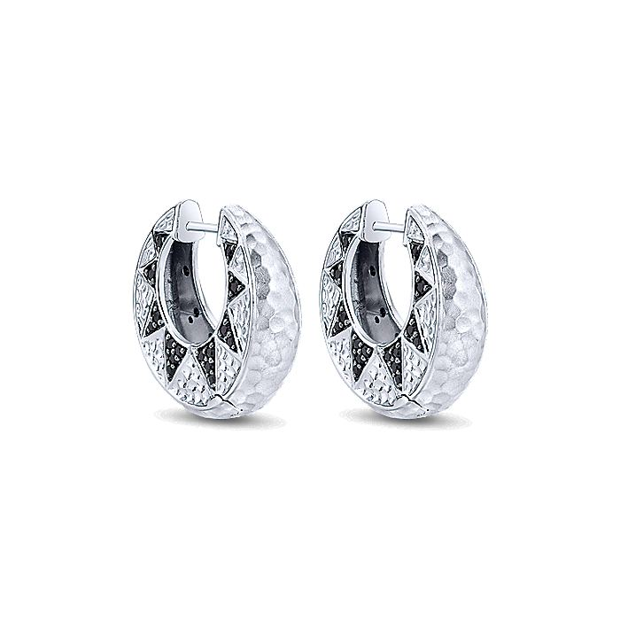 925 Sterling Silver Hammered 10mm Black Spinel Huggie Earrings