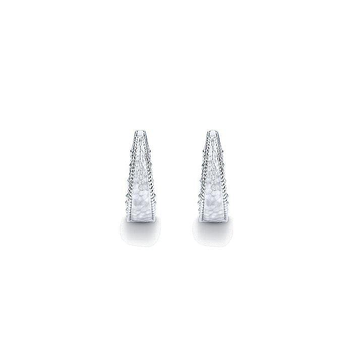 925 Sterling Silver Hammered 20MM Intricate Hoop Earrings