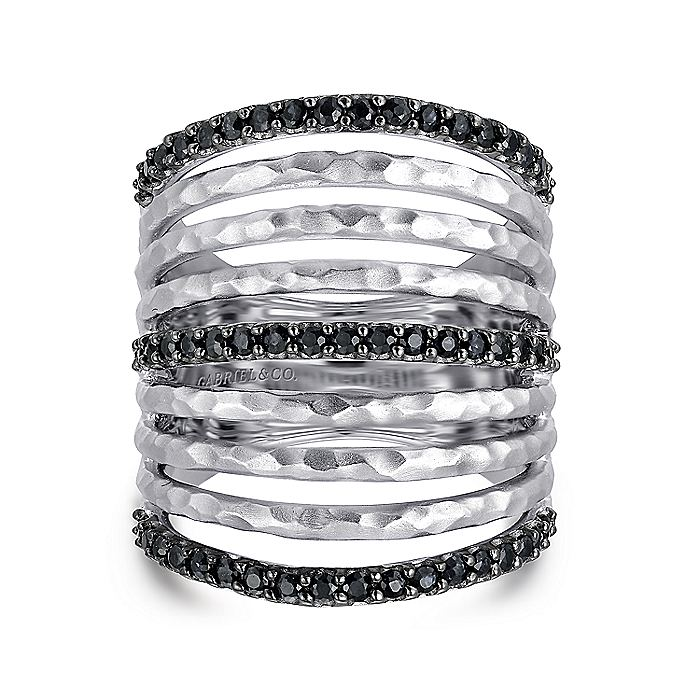 925 Sterling Silver Hammered Black Spinel Layered Wide Band Ring