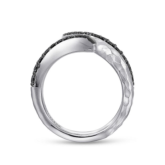 925 Sterling Silver Hammered Black Spinel Open Wrap Ring