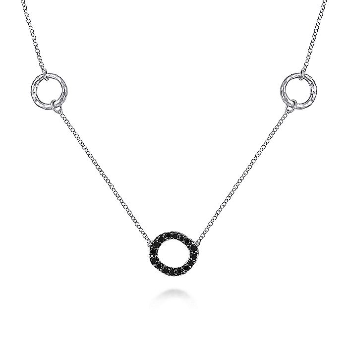 925 Sterling Silver Hammered Circle Black Spinel Pendant Necklace