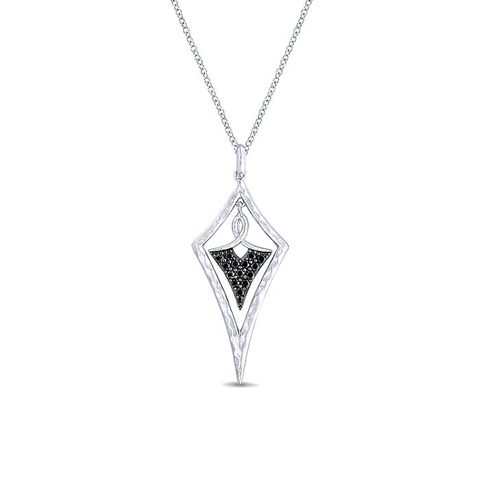 925 Sterling Silver Hammered Kite Pendant Necklace with Black Spinel