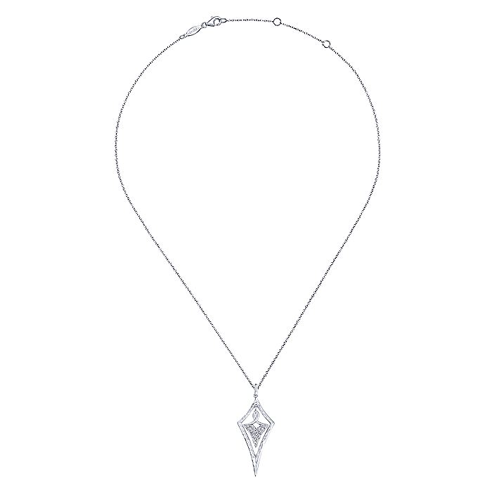 925 Sterling Silver Hammered Kite Pendant Necklace with White Sapphire