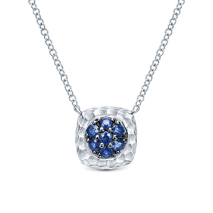 925 Sterling Silver Hammered Pavé Sapphire Pendant Necklace