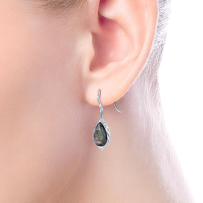 925 Sterling Silver Hammered Pear Shaped Rock Crystal/Black MOP Drop Earrings