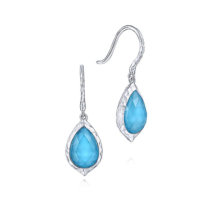 925 Sterling Silver Hammered Pear Shaped Rock Crystal/Turquoise Drop Earrings