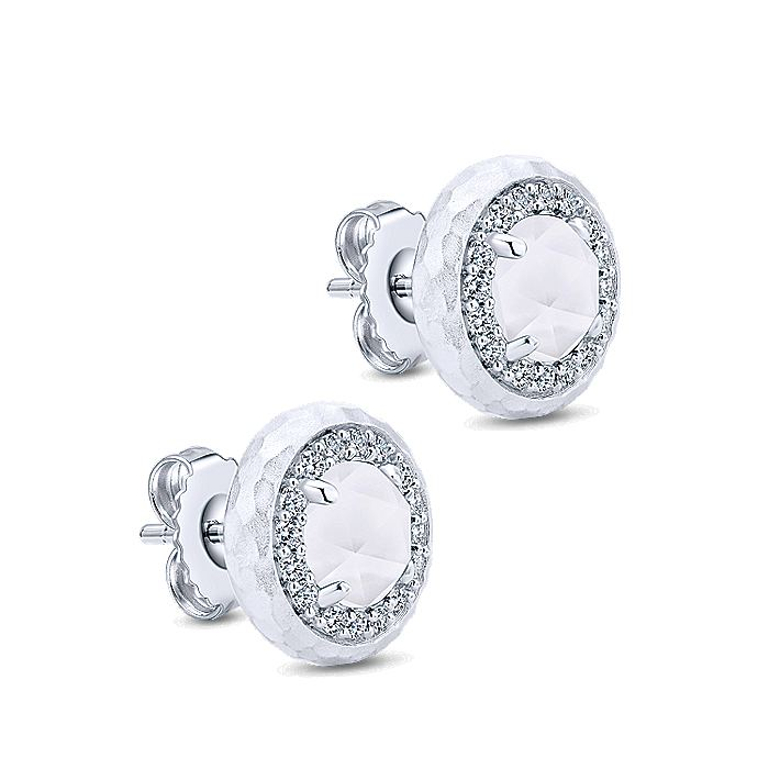 925 Sterling Silver Hammered Rock Crystal/White Mother of Pearl and White Sapphire Halo Stud Earrings