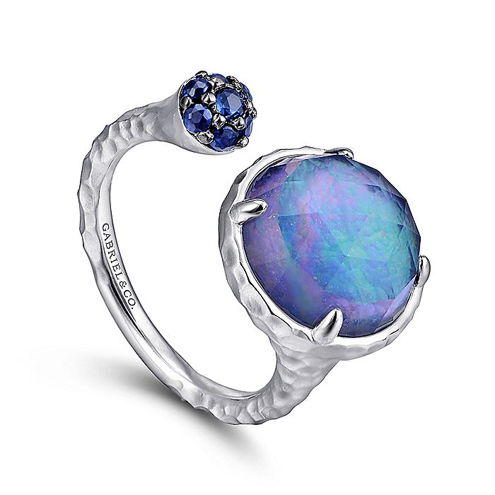 925 Sterling Silver Hammered Round Multi Color Stones Open Ring