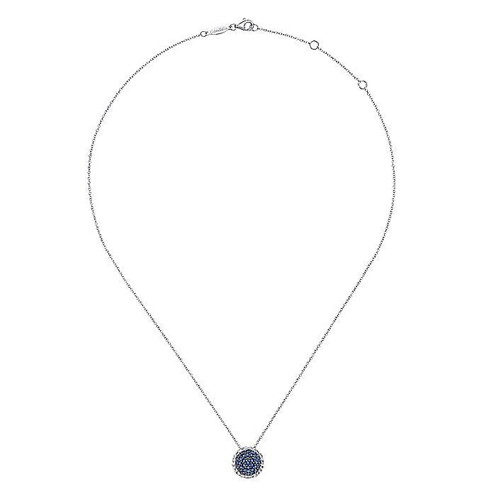 925 Sterling Silver Hammered Round Sapphire Fashion Necklace