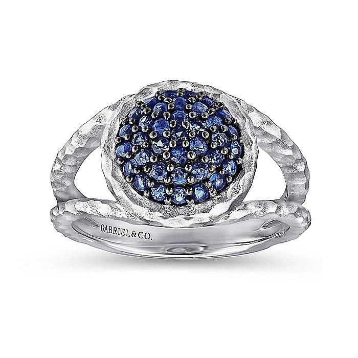 925 Sterling Silver Hammered Split Shank Sapphire Cluster Ring