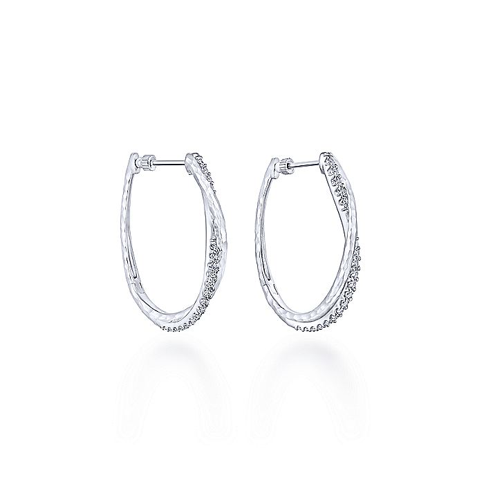 925 Sterling Silver Hammered Twisted 35mm White Sapphire Hoop Earrings