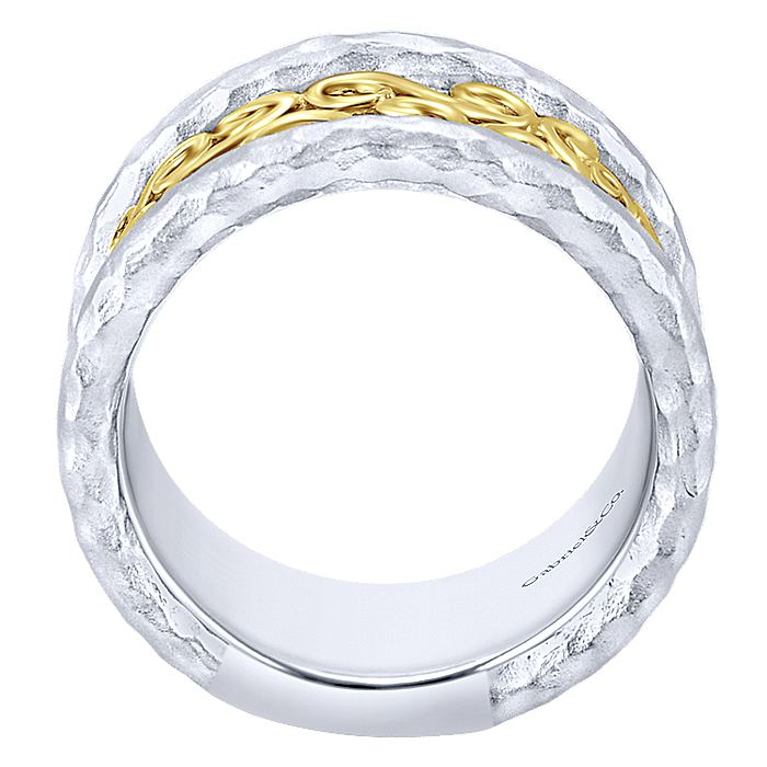 925 Sterling Silver Hammered Wide Band with 14K Yellow Gold Scrollwork