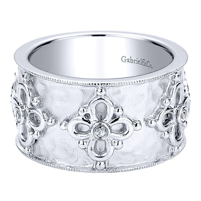 925 Sterling Silver Hammered Wide Ring with Floral White Sapphire Stations
