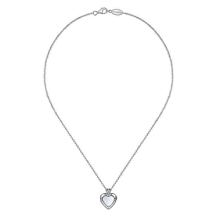 925 Sterling Silver Heart Shaped Glass Locket Necklace