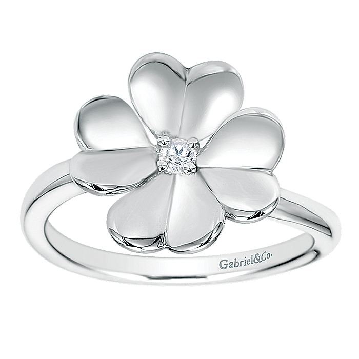 925 Sterling Silver High Polished Flower with White Sapphire Ring
