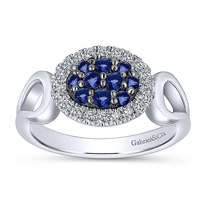 925 Sterling Silver Horizontal Oval Blue and White Sapphire Ring