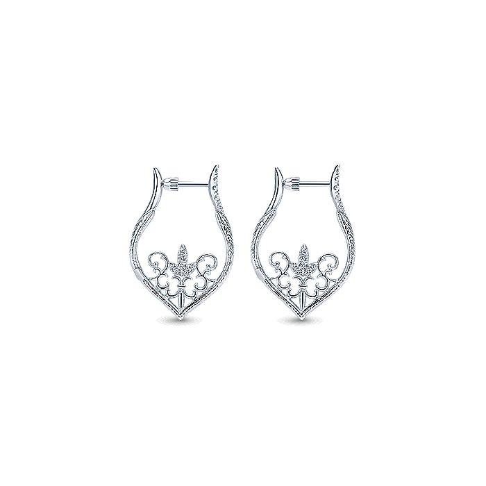 925 Sterling Silver Intricate 25mm White Sapphire Earrings
