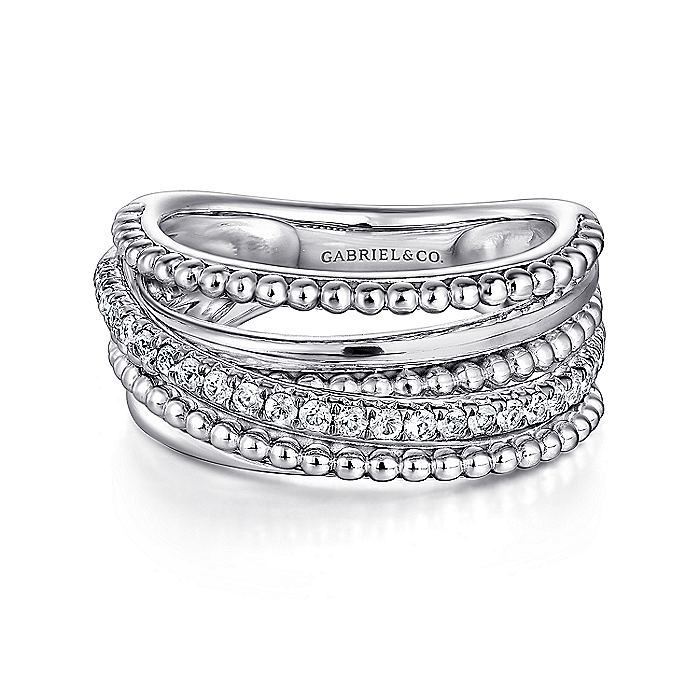 925 Sterling Silver Layered Beaded White Sapphire Ring